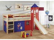 Detská vyvýšená posteľ so šmýkačkou PIRÁTI modročervený - PRÍRODNÉ
