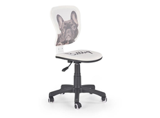 Detská otočná stolička FLYER bulldog biela