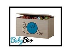 Detská truhla na hračky s výrezom MÉĎA - modrá