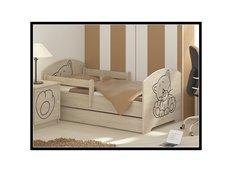 Detská posteľ s výrezom MAČIČKA - prírodná 140x70 cm