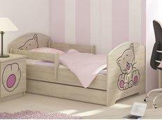 Detská posteľ s výrezom MAČIČKA - ružová 140x70 cm
