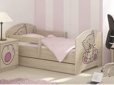 Detská posteľ s výrezom MAČIČKA - ružová 160x80 cm