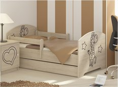 Detská posteľ s výrezom ŽIRAFA - prírodná 140x70 cm