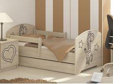 Detská posteľ s výrezom ŽIRAFA - prírodná 160x80 cm
