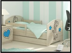 Detská posteľ s výrezom ŽIRAFA - modrá 160x80 cm