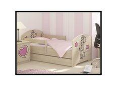 Detská posteľ s výrezom ŽIRAFA - ružová 140x70 cm