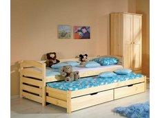 Detská posteľ s výsuvnou prístelkou z MASÍVU 190x80cm so zásuvkou - TOM