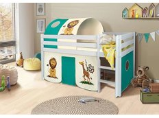 Detská vyvýšená posteľ SAFARI - BIELA