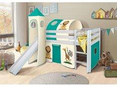 Detská vyvýšená posteľ so šmýkačkou SAFARI - BIELA