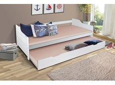 Detská posteľ s výsuvnou prístelkou z MASÍVU 200x90 cm BABETA - biela