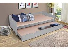 Detská posteľ s výsuvnou prístelkou z MASÍVU 200x90 cm BABETA - šedá
