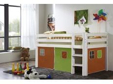 Detská vyvýšená posteľ DOMČEK zelenooranžovom - BIELA