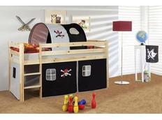Detská vyvýšená posteľ PIRÁTI bieločiernej - PRÍRODNÉ