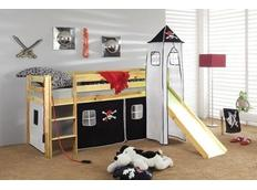 Detská vyvýšená posteľ so šmýkačkou PIRÁTI bieločiernej - PRÍRODNÉ
