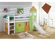 Detská vyvýšená posteľ so šmýkačkou DOMČEK zelenooranžovom - BIELA