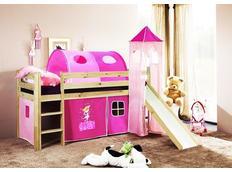 Detská vyvýšená posteľ so šmýkačkou DOMČEK ružový - PRÍRODNÉ