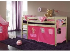 Detská vyvýšená posteľ DOMČEK ružový - PRÍRODNÉ