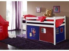 Detská vyvýšená posteľ PIRÁTI modročervený - BIELA
