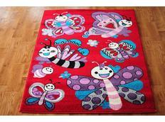 Detský koberec Motýľ - červený