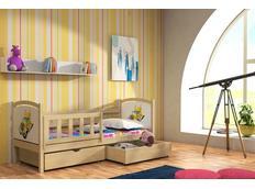 Detská posteľ z masívu s obrázkom so zásuvkou - DP013