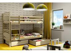 Detská poschodová posteľ z masívu so zásuvkami - PP001