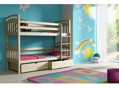 Detská poschodová posteľ z masívu so zásuvkami - PP003