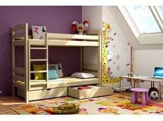 Detská poschodová posteľ z masívu so zásuvkami - PP004