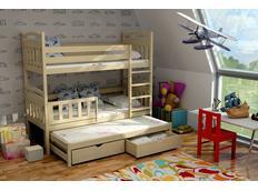 Detská poschodová posteľ s výsuvnou prístelkou z MASÍVU so zásuvkami - PV001