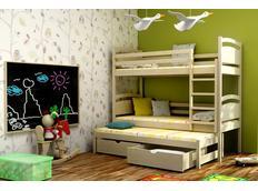 Detská poschodová posteľ s výsuvnou prístelkou z MASÍVU so zásuvkami - PV002