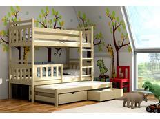 Detská poschodová posteľ s výsuvnou prístelkou z MASÍVU so zásuvkami - PV004