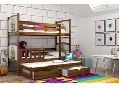 Detská poschodová posteľ s výsuvnou prístelkou z MASÍVU s obrázkami a so zásuvkami - PV005