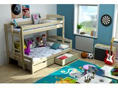 Detská poschodová posteľ s rozšíreným spodným lôžkom z MASÍVU bez šuplíku - PPS001