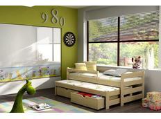 Detská posteľ s výsuvnou prístelkou z MASÍVU so zásuvkami - DPV001