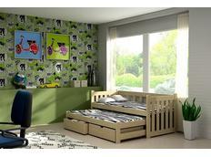 Detská posteľ s výsuvnou prístelkou z MASÍVU so zásuvkami - DPV002