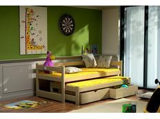 Detská posteľ s výsuvnou prístelkou z MASÍVU so zásuvkami - DPV003