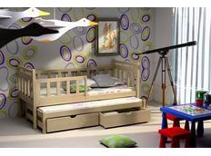 Detská posteľ s výsuvnou prístelkou z MASÍVU so zásuvkami - DPV004