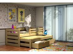 Detská posteľ s výsuvnou prístelkou z MASÍVU so zásuvkami - DPV007