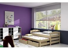 Detská posteľ s výsuvnou prístelkou z MASÍVU so zásuvkami - DPV009