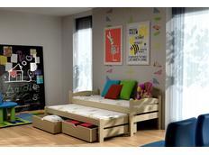 Detská posteľ s výsuvnou prístelkou z MASÍVU so zásuvkami - DPV010