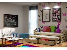 Detská posteľ s výsuvnou prístelkou z MASÍVU so zásuvkami - DPV012