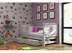 Detská posteľ s výsuvnou prístelkou z MASÍVU s obrázkom a so zásuvkami - DPV004