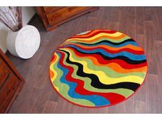 Okrúhly dizajnový koberec MALBA F1561 modrý