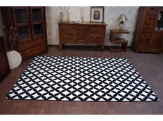 Moderné koberec čierno-biely F757