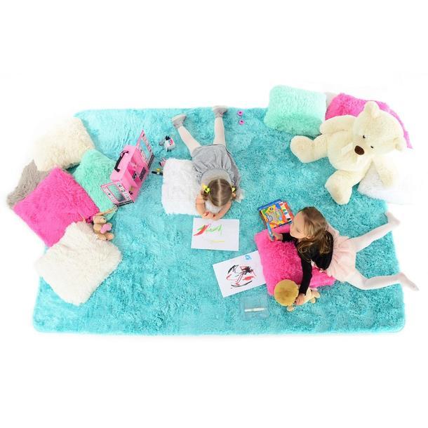 Plyšový detský koberec Tyrkysové