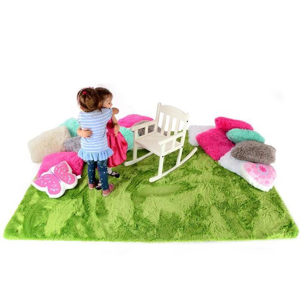 Plyšový detský koberec ZELENÝ