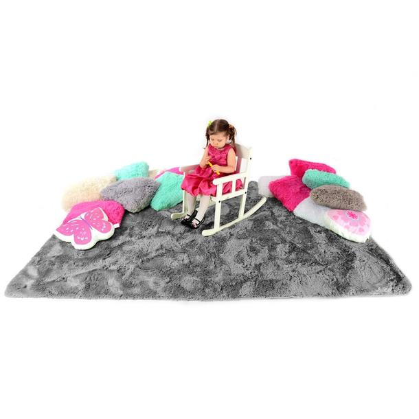 Plyšový detský koberec ŠEDÝ