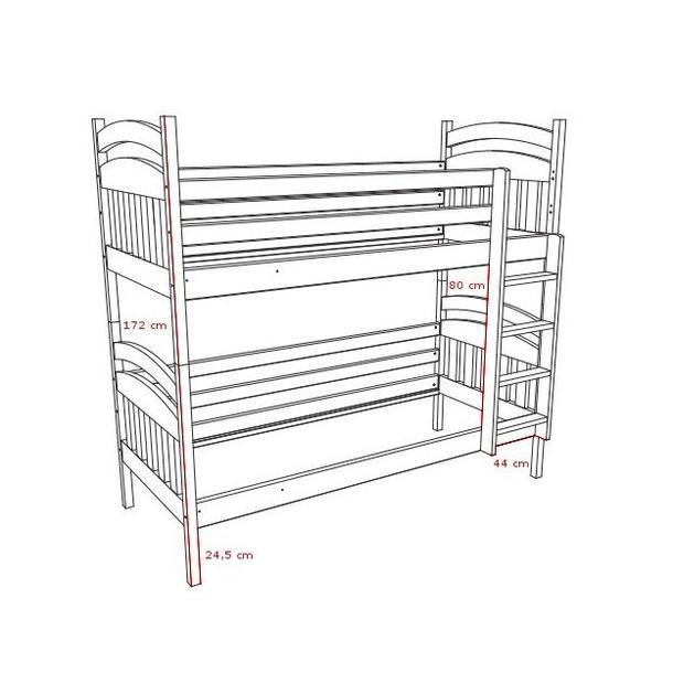 Detská poschodová posteľ z masívu - PP003