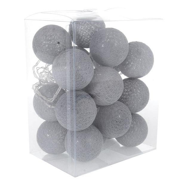 Bavlnené svietiace guličky LED 20 ks - šedé