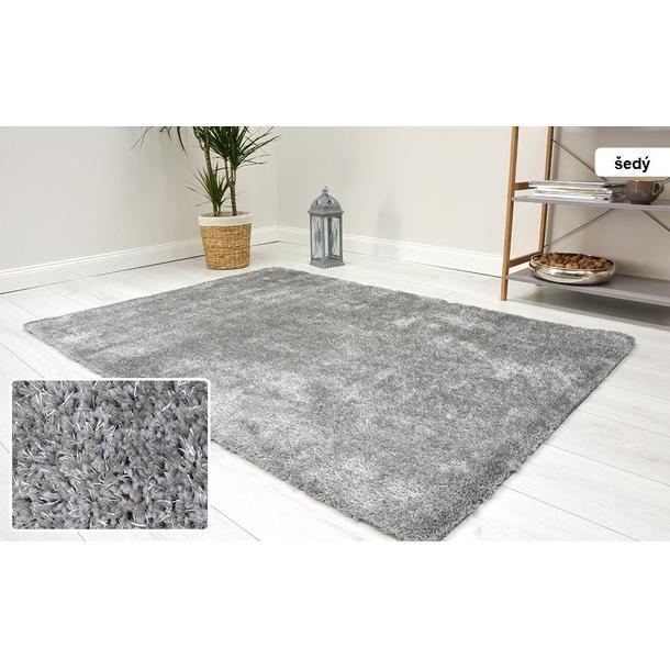Kusový koberec Shaggy MAX velvet - sivý