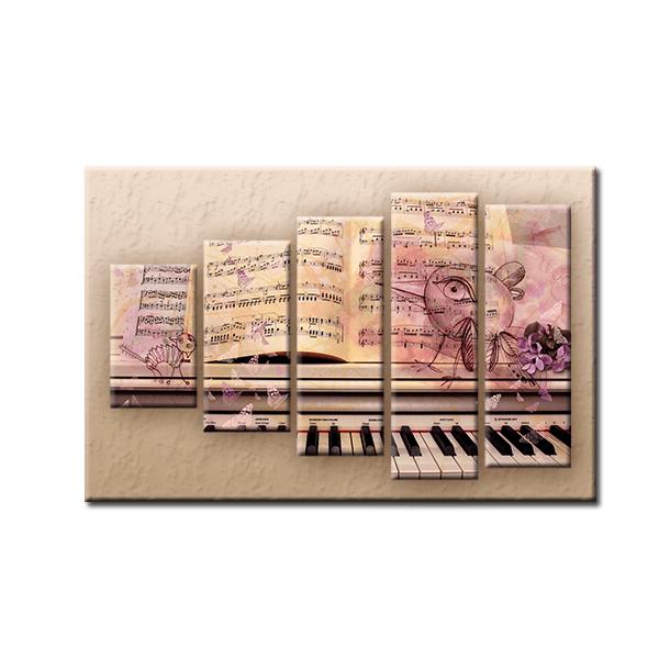 Päťdielny OBRAZ na plátne MUSIC - vzor 15